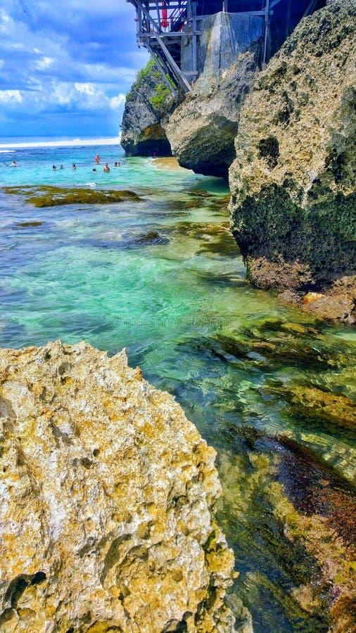 Point bleu Bali de plage de Suluban image libre de droits