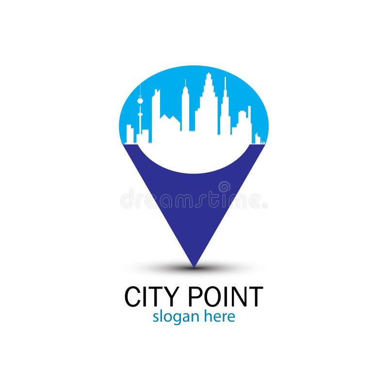 Point bleu de ville illustration stock
