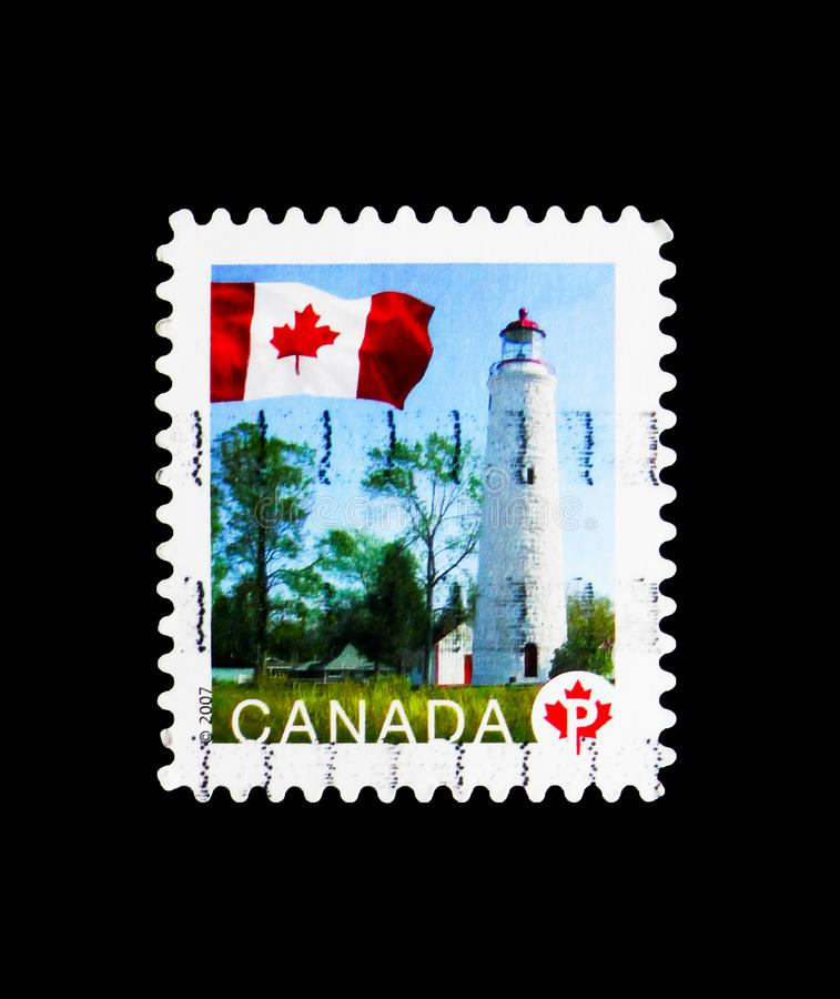 Point Clark, Ontario, Flag Definitives serie, circa 2007. MOSCOW, RUSSIA - MARCH 18, 2018: A stamp printed in Canada shows Point Clark, Ontario, Flag Definitives stock photography