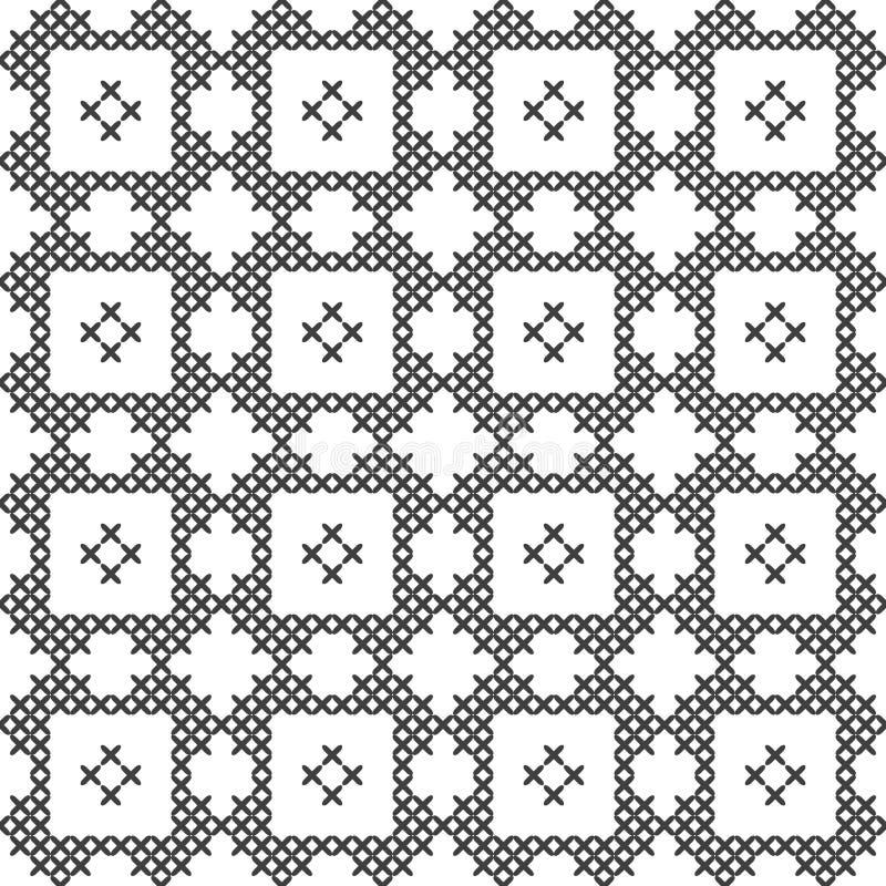 Point croisé, modèle décoratif sans couture Broderie et tricotage Géométrique abstrait Ornements ethniques illustration de vecteur