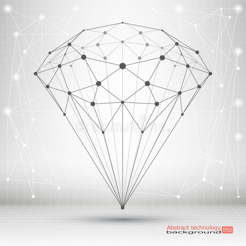 Point and curve constructed the crystal wire frame. Abstract geometric background stock illustration