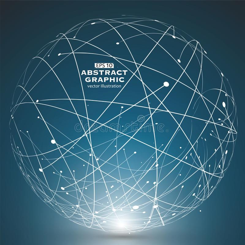 Point and curve constructed the sphere wireframe, technological sense abstract illustration. Point and curve constructed the sphere wireframe, technological vector illustration