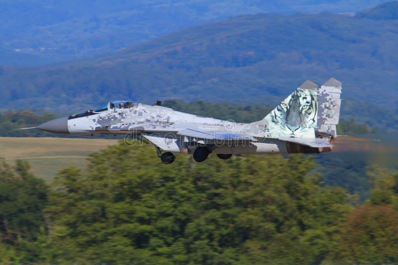 Point d'appui de MIG 29 des Armées de l'Air polonaises photographie stock libre de droits