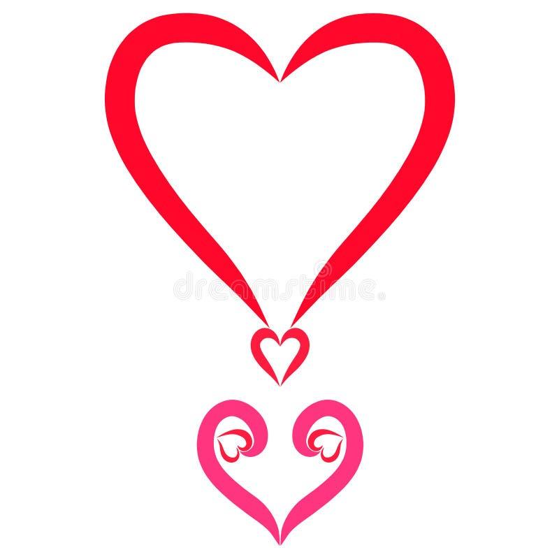 Point d'exclamation du coeur, beaux sentiments illustration de vecteur