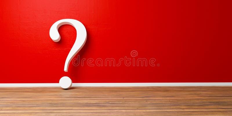 Point d'interrogation blanc au mur grunge en béton rouge illustration de vecteur