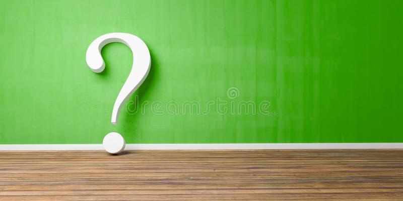 Point d'interrogation blanc au mur grunge vert en béton bleu -3D-Illustration photographie stock libre de droits