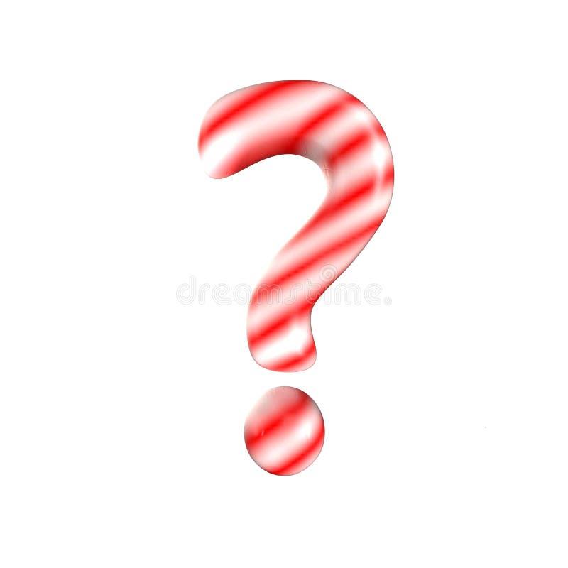 Point d'interrogation blanc rouge de lettre de sucrerie d'isolement sur le fond blanc images stock