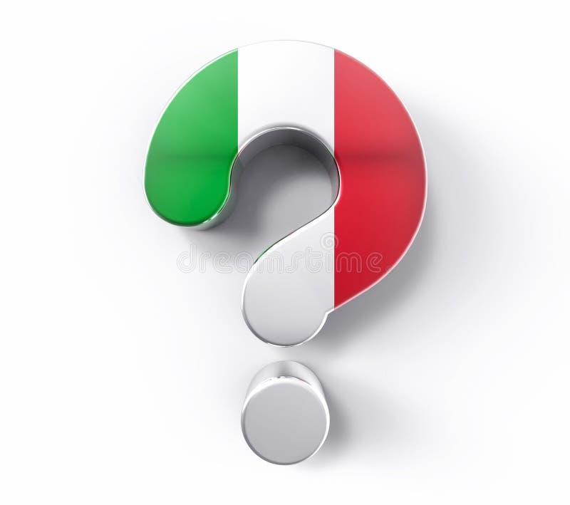 point d'interrogation d'isolement par 3D de drapeau de l'Italie Escroquerie de soutien de solution de doute illustration stock