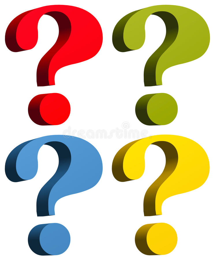 Point d'interrogation dans des couleurs jaunes et bleues vertes rouges photo stock