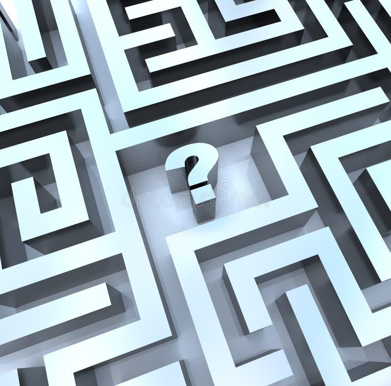 Point d'interrogation dans le labyrinthe - trouvez la réponse illustration stock