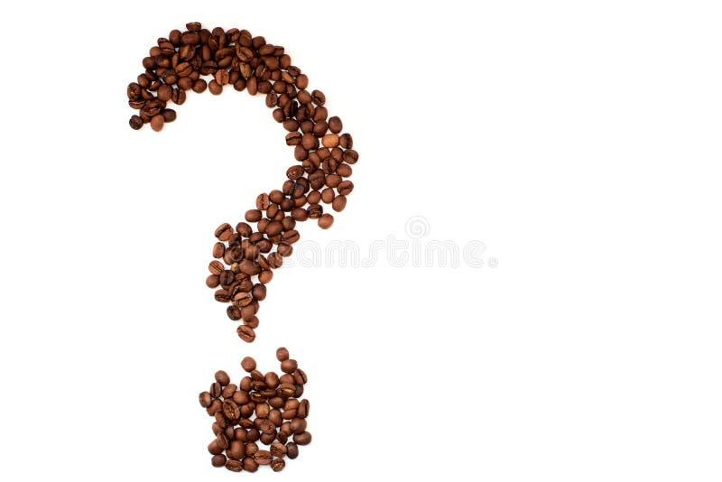 Point d'interrogation de vue supérieure de plan rapproché de grains de café photos libres de droits