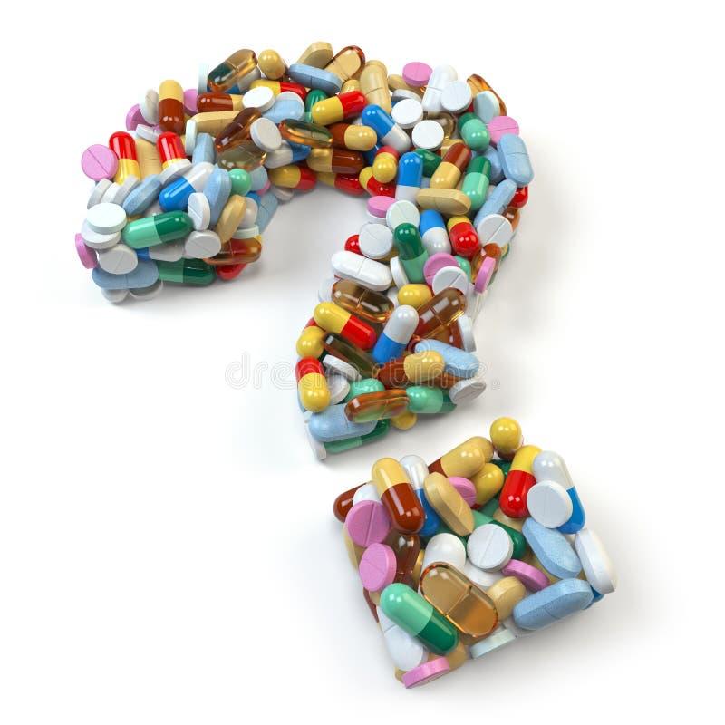 Point d'interrogation des pilules et des capsules rouges sur le fond blanc illustration libre de droits