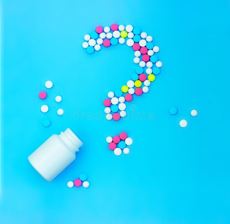 Point d'interrogation des pilules photos libres de droits