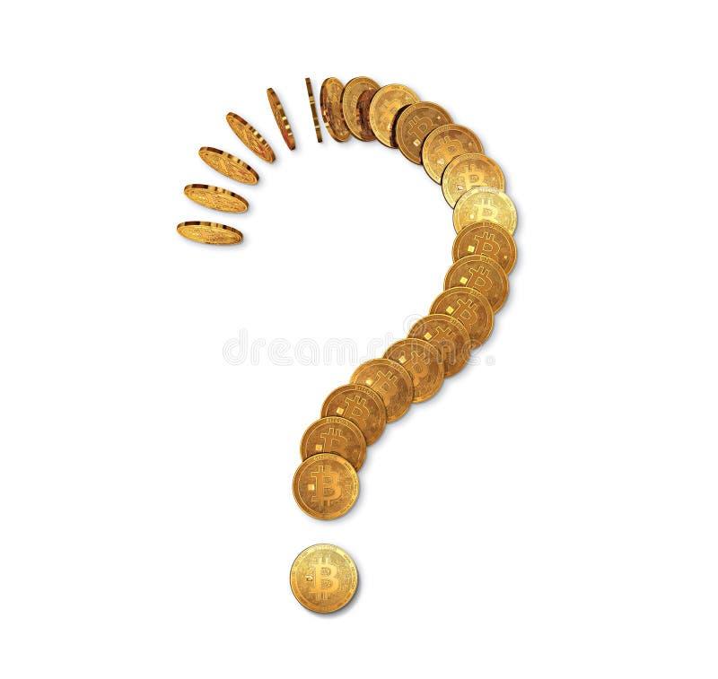 Point d'interrogation fait de dominos de bitcoin d'isolement sur le blanc Avenir incertain de concept de bitcoin illustration stock