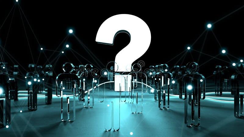 Point d'interrogation illuminant un groupe de personnes le rendu 3D illustration stock
