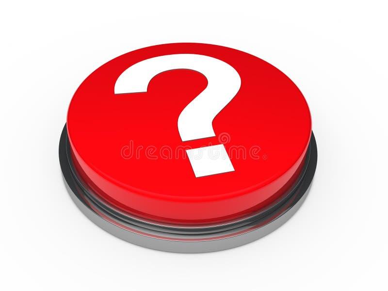 point d'interrogation rouge du bouton 3d illustration de vecteur