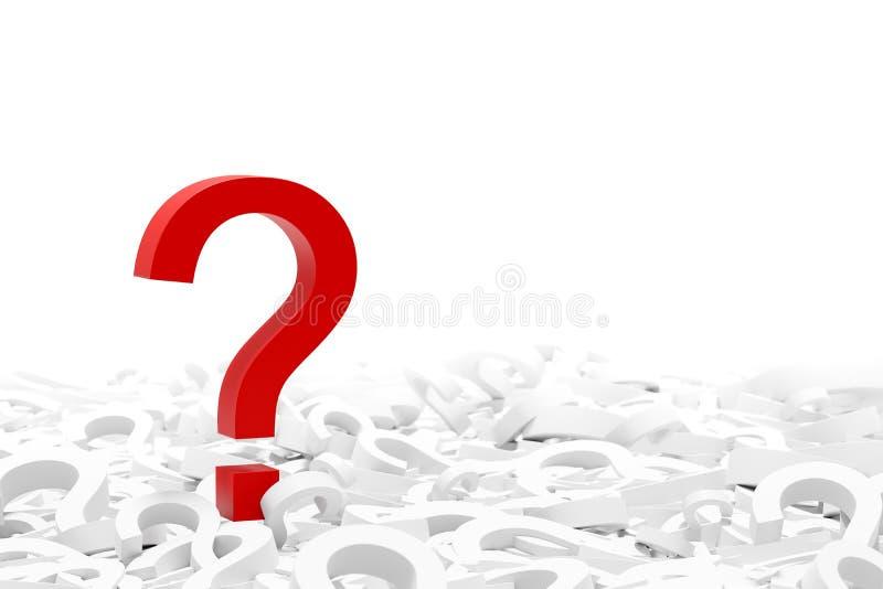 Point d'interrogation rouge sur beaucoup de points d'interrogation blancs, d'isolement sur le fond blanc illustration de vecteur