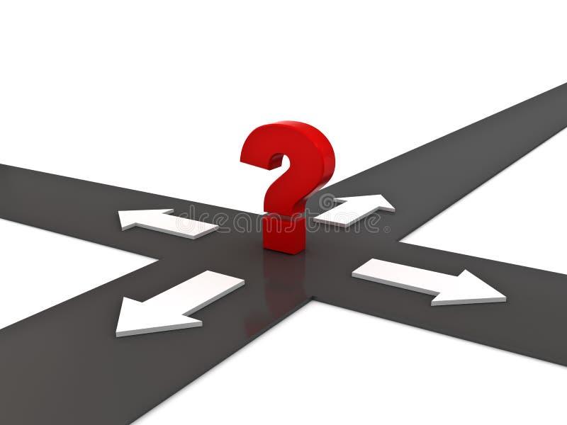 Point d'interrogation rouge sur le carrefour avec quatre directions de flèche au-dessus de blanc illustration libre de droits