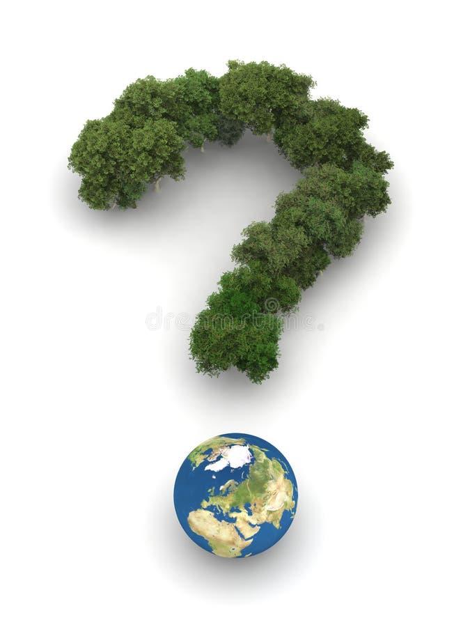 Point d'interrogation symbolique avec la terre et des arbres illustration libre de droits