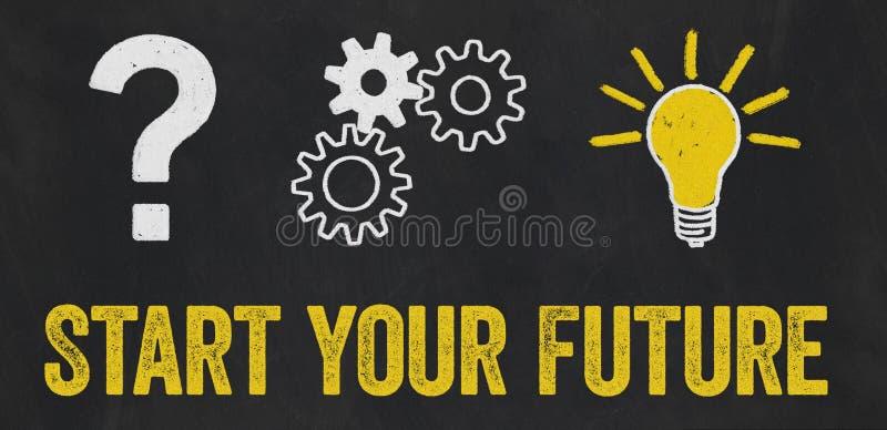 Point d'interrogation, vitesses, concept d'ampoule - début votre avenir illustration de vecteur