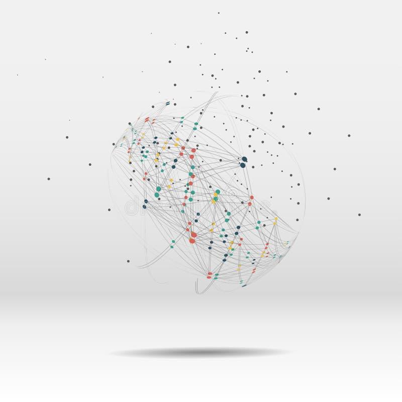 Point de carte du monde, ligne, composition le global illustration stock