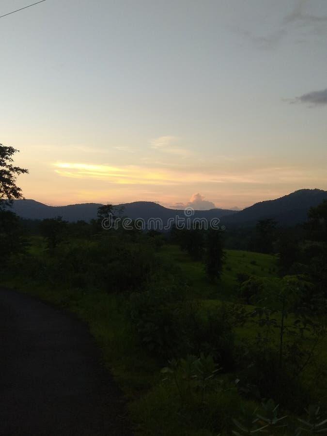 Point de coucher du soleil image stock