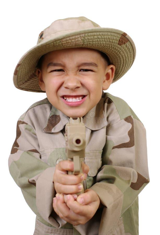 Point de garçon un canon à vous images stock