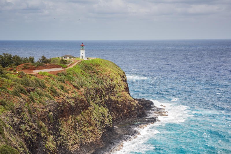 Point de Kilauea et son phare photo stock