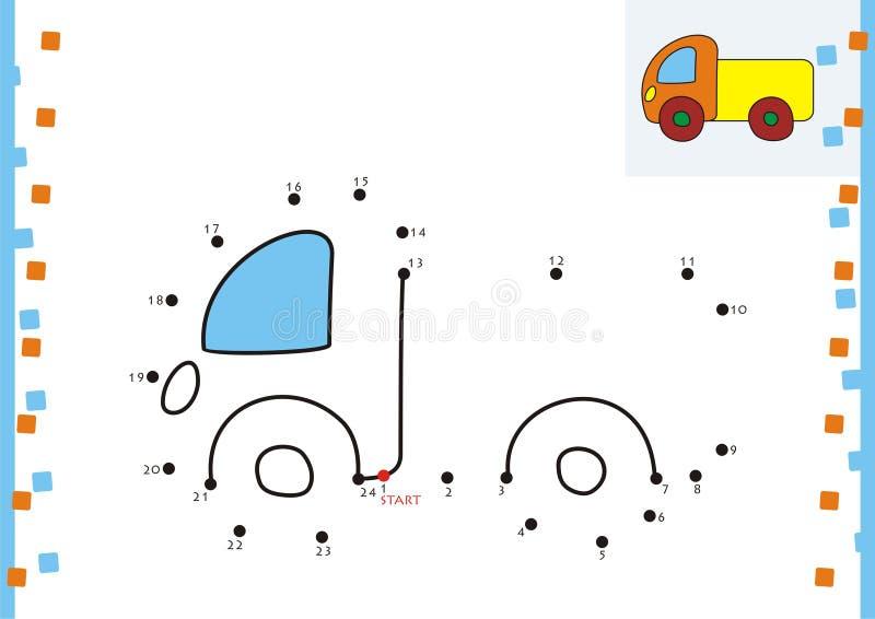 Point de livre de coloriage à pointiller. Le camion illustration stock