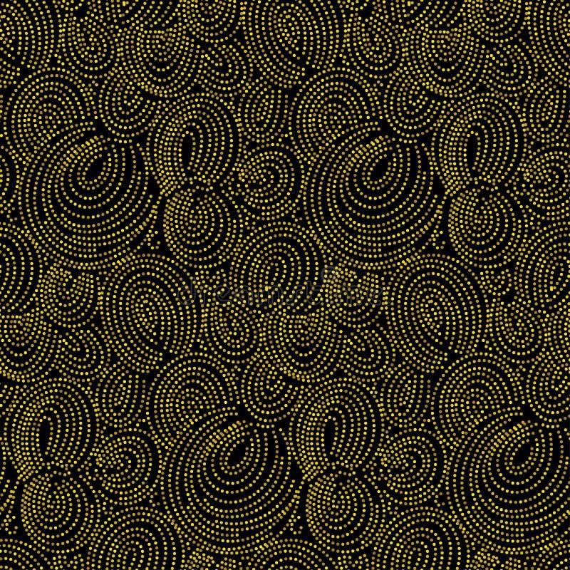 Point de polka éclatant de vecteur d'or sans couture de modèle sur le fond noir illustration de vecteur