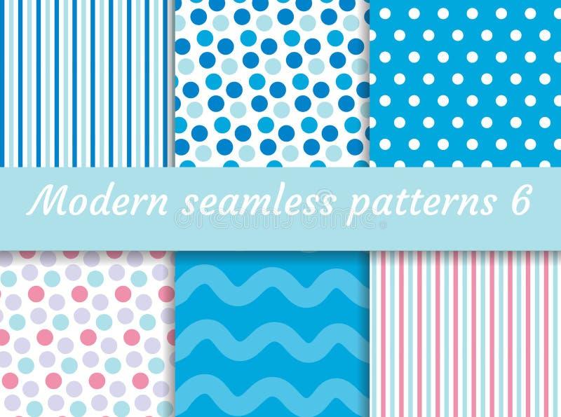 Point de polka, ensemble sans couture de modèle de vague de bandes Collection de papier de Digital, style moderne Kit de Scrapboo illustration stock