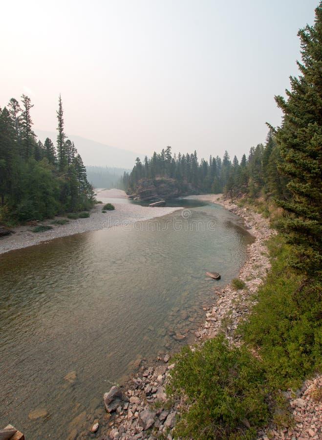 Point de rencontre à tête plate et repéré de rivières d'ours dans le secteur de région sauvage de Bob Marshall pendant les 2017 f images libres de droits