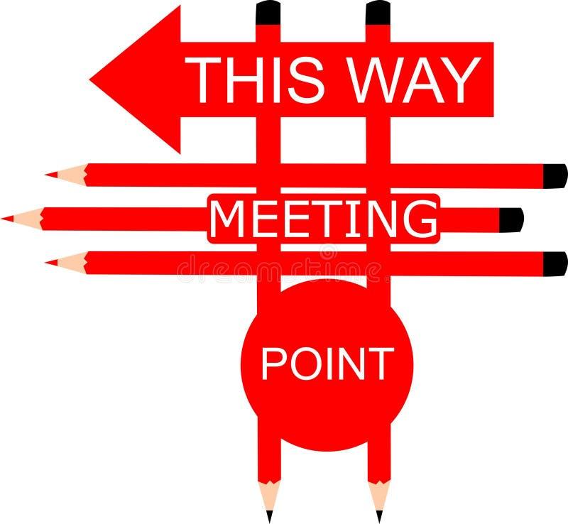 Point de rencontre ce signe de manière vers la gauche illustration de vecteur