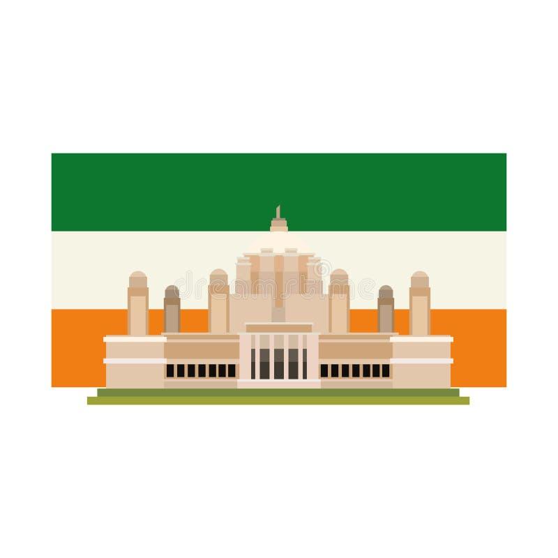 Point de repère antique indien de drapeau de monument illustration de vecteur