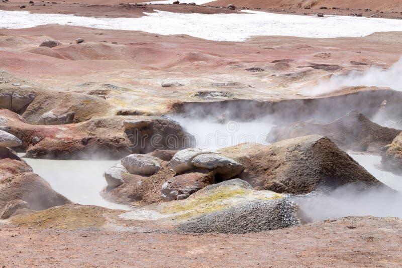 Point de repère bolivien, Geiser Sol de la Manana image stock