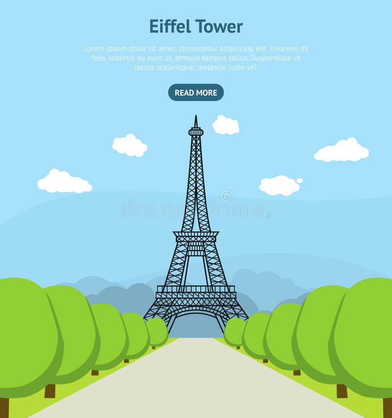 Point de repère célèbre de Tour Eiffel de bande dessinée d'affiche de carte de Paris Vecteur illustration de vecteur