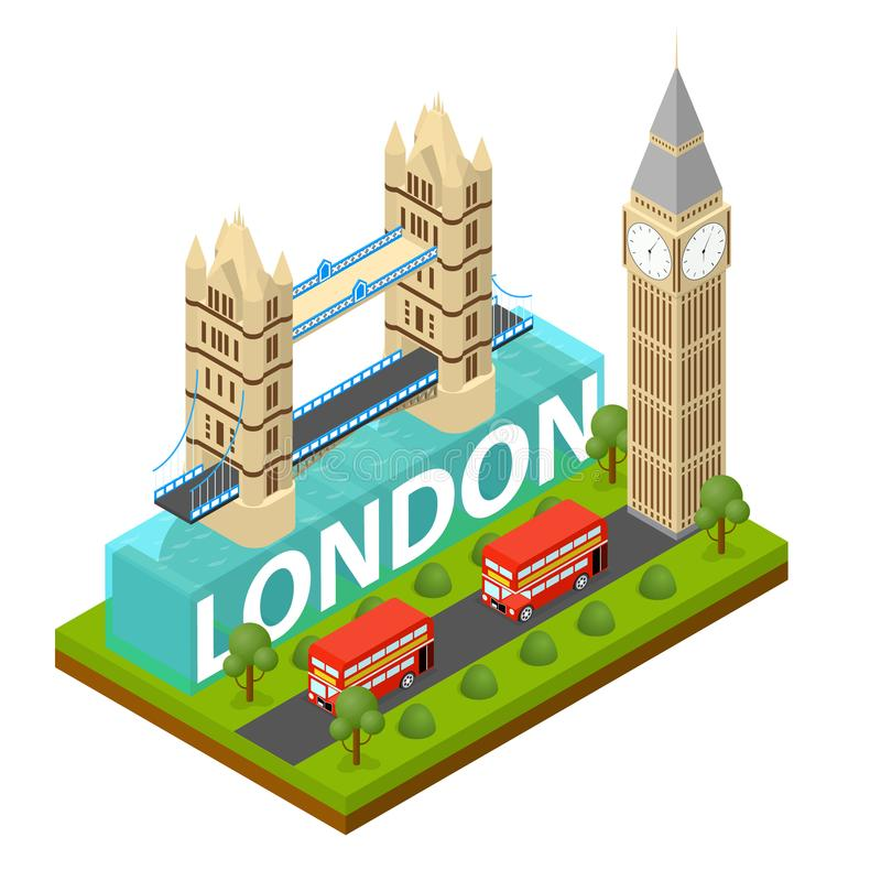 Point de repère célèbre de ville de Londres de vue isométrique capitale de l'Angleterre Vecteur illustration de vecteur