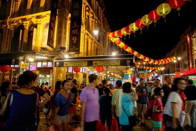 Point de repère Chinatown de Singapour pendant la nouvelle année chinoise images libres de droits