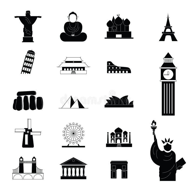 Point de repère de voyage autour des icônes du monde illustration stock