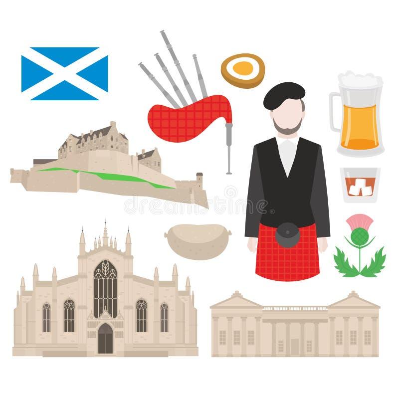 Point de repère de l'Ecosse St Giles Cathedral et château d'Edimbourg nourriture écossaise, joueur de cornemuse dans le kilt, dra illustration stock