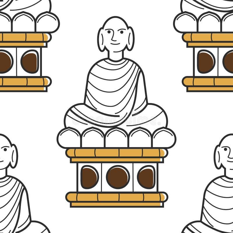 Point de repère ou monument sans couture de modèle de statue vietnamienne de Bouddha illustration stock