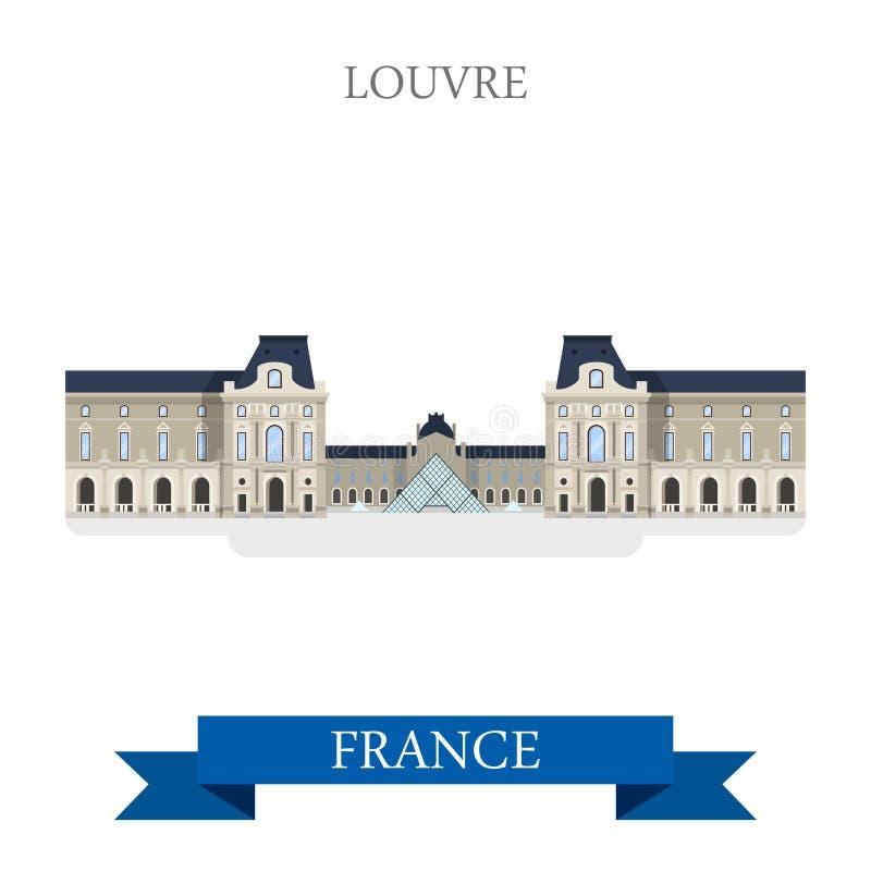 Point de repère plat de vue d'attraction de vecteur de Frances de Paris de musée de Louvre illustration libre de droits