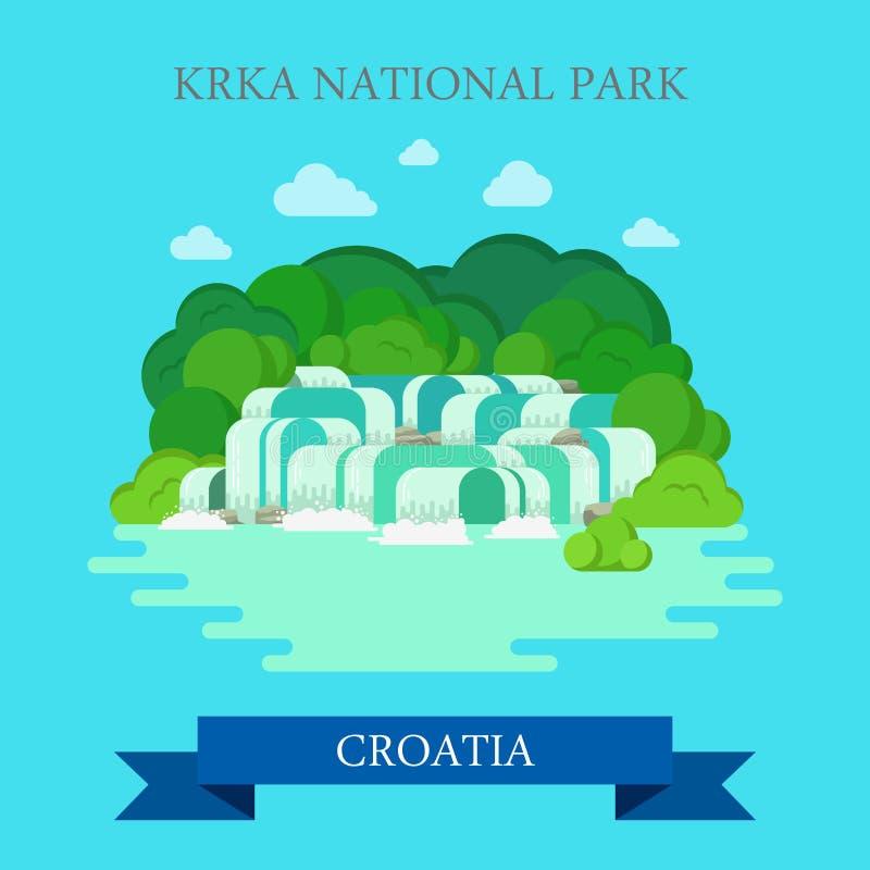 Point de repère plat de vue d'attraction de vecteur de la Croatie de parc national de KRKA illustration libre de droits