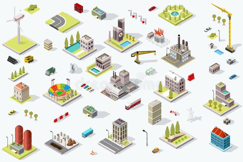 Point de repère réglé de carte isométrique de ville illustration de vecteur