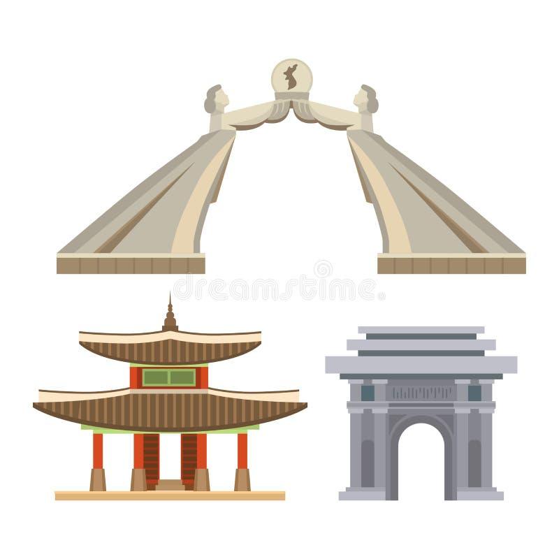 Point de repère traditionnel de temple de bâtiments de symboles de culture coréenne de vecteur de la Corée voyageant dans l'Asiat illustration de vecteur