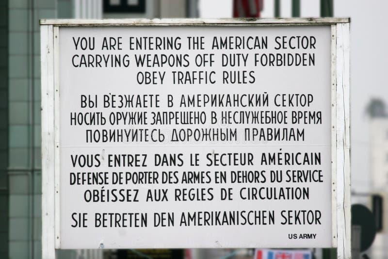 point de reprise Allemagne de Berlin Charlie image libre de droits
