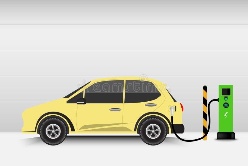 Point de voiture électrique et de station de charge, technologie EV, Automobi illustration libre de droits