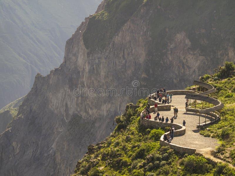 Point de vue de canyon de Colca, Pérou. photos libres de droits