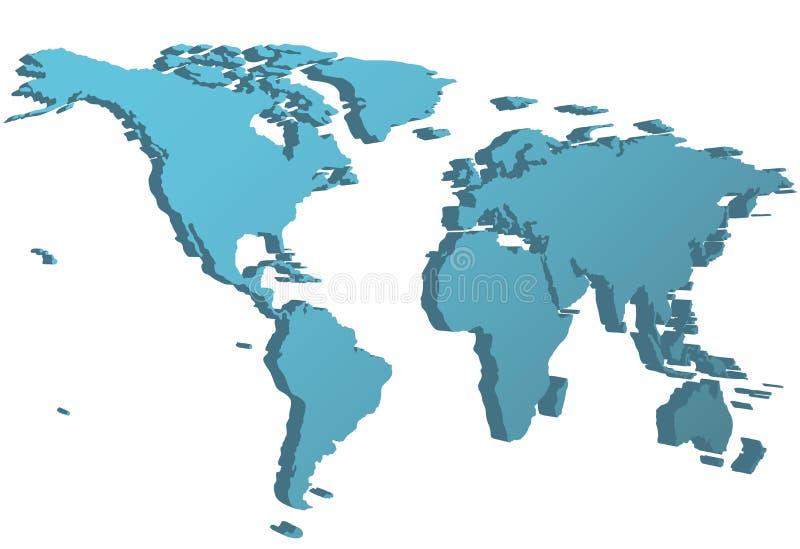Point de vue de la carte 3D de vue de côté du monde sur terre illustration stock