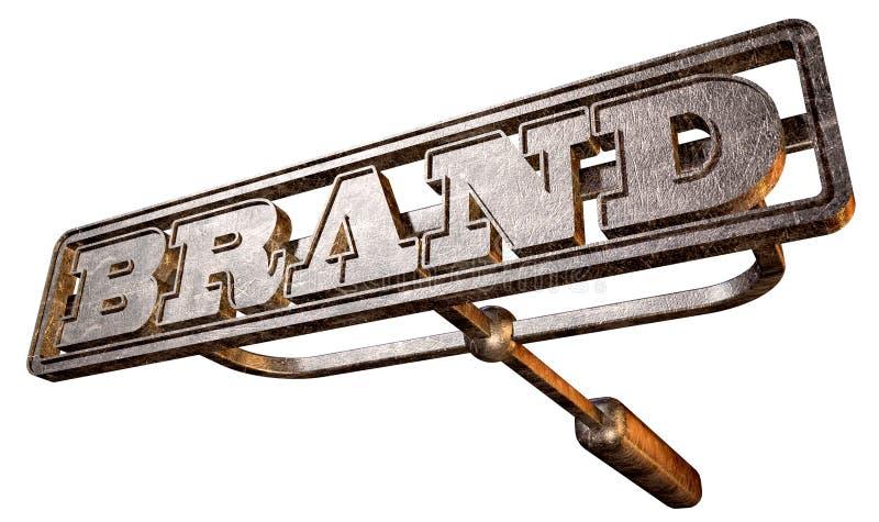Point de vue de marquage à chaud de marque en métal illustration stock